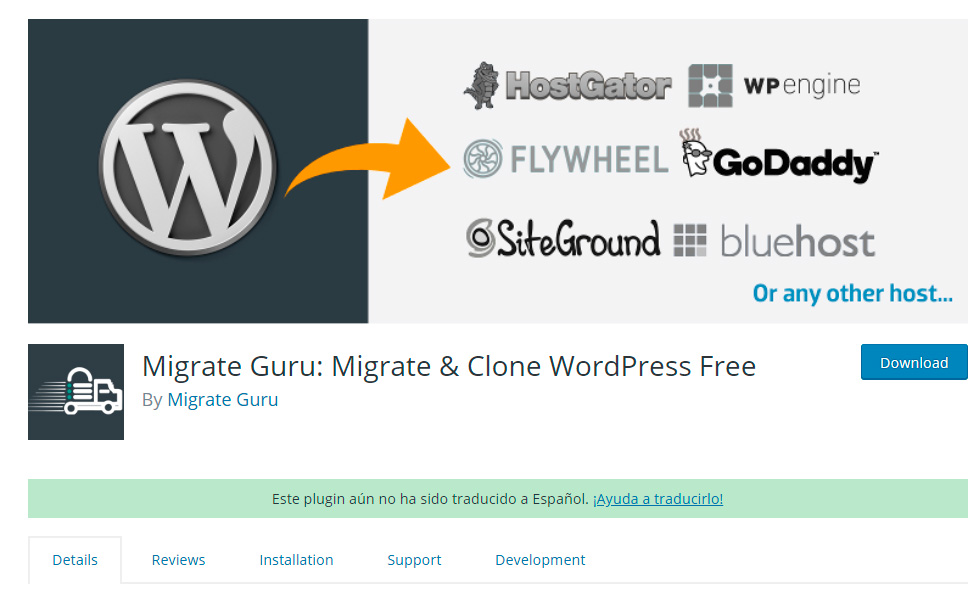 Plugin Migrate Guru en WordPress