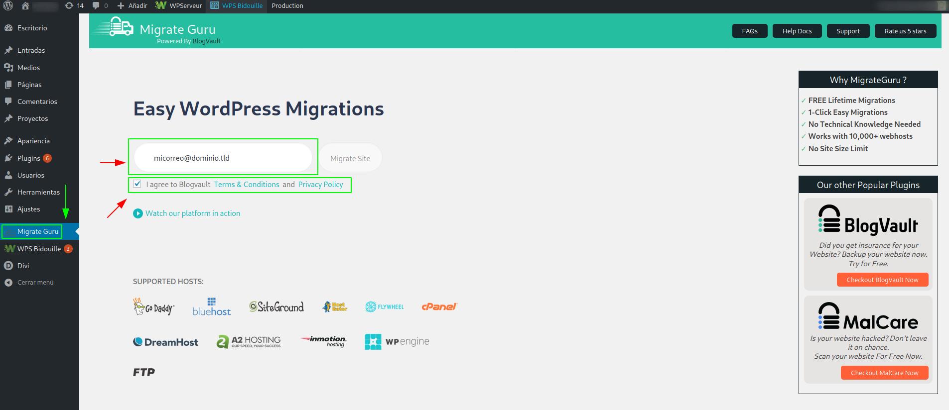 Configurar email y aceptar los Términos y Condiciones en Migrate Guru