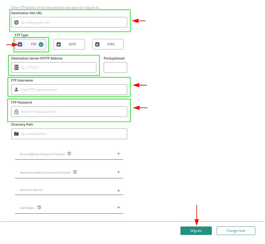 Cómo configurar conexión FTP en Migrate Guru