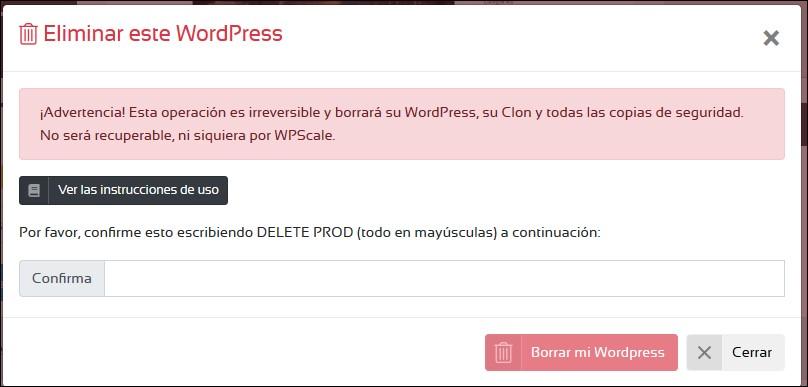 Suprimir WordPress en WPSCALE