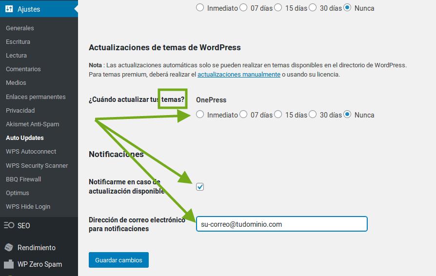 actualizaciones automáticas wordpress wpscale