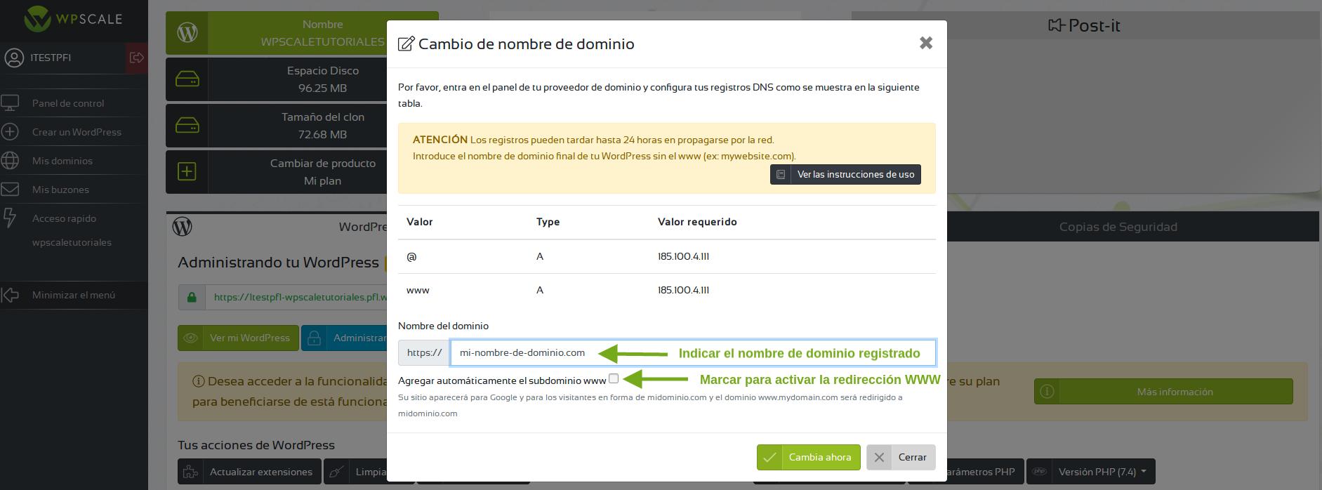 Verificacin registros dns cambio de dominio wpscale.es