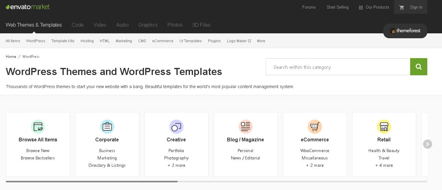 ThemeForest encuentra tu plantilla favorita para WordPress