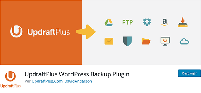 Plugin UpdraftPlus WordPress Backup en biblioteca de WordPress