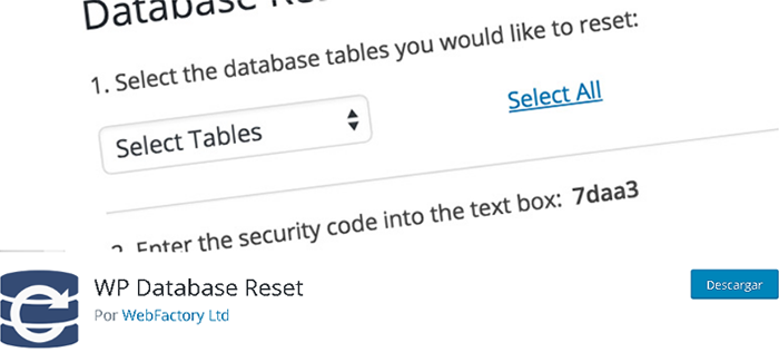 Plugin Database Reset en biblioteca de WordPress