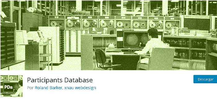 Plugins para base de datos, instalación de Participants Databse desde la biblioteca de WordPress
